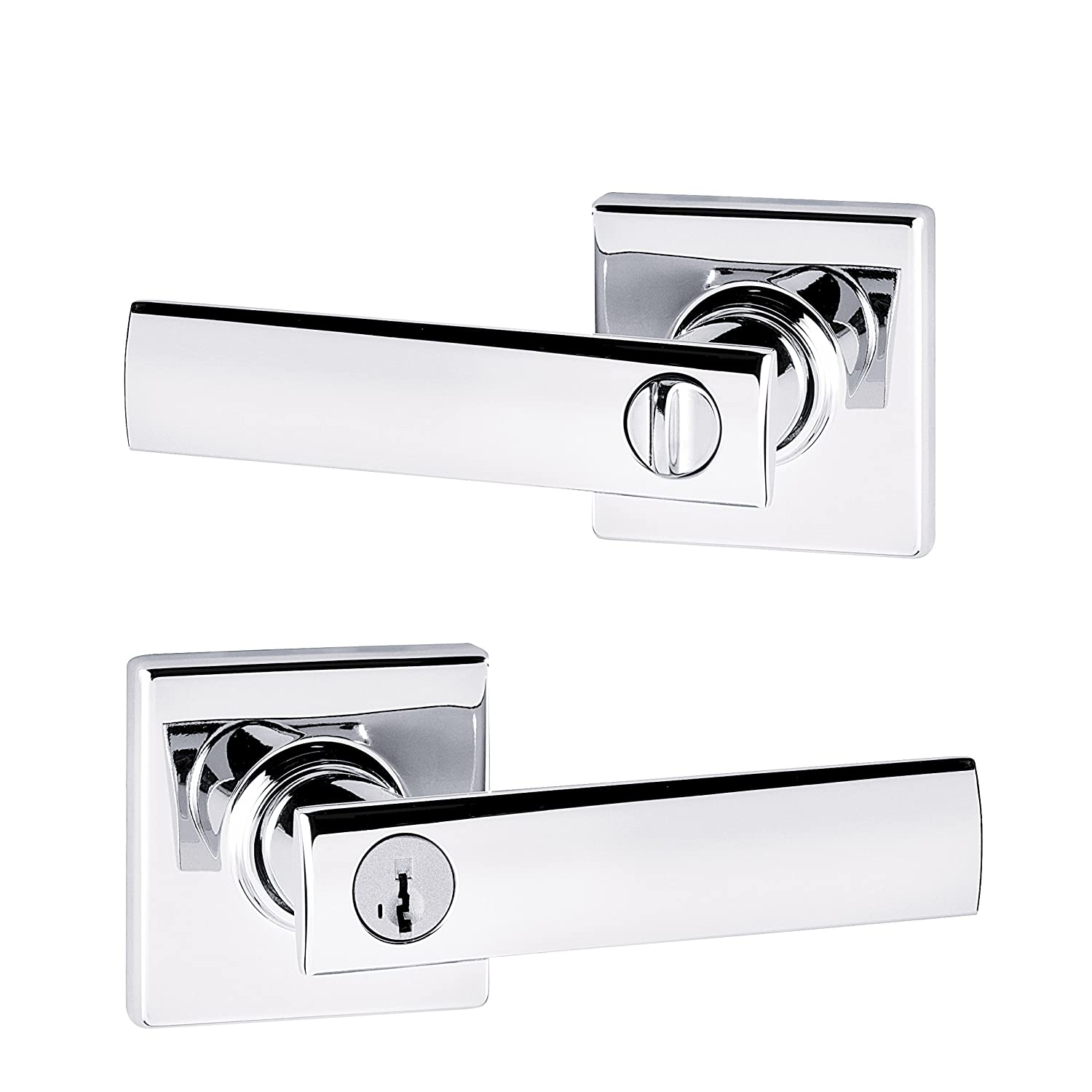 Kwikset Vedani Entry Lever Featuring SmartKey/® in Satin Chrome