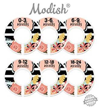 Modish Labels Baby Nursery Closet Dividers Baby Floral Nursery Decor Baby Girl Nursery Closet Organizers Baby Clothes Size Dividers Flowers