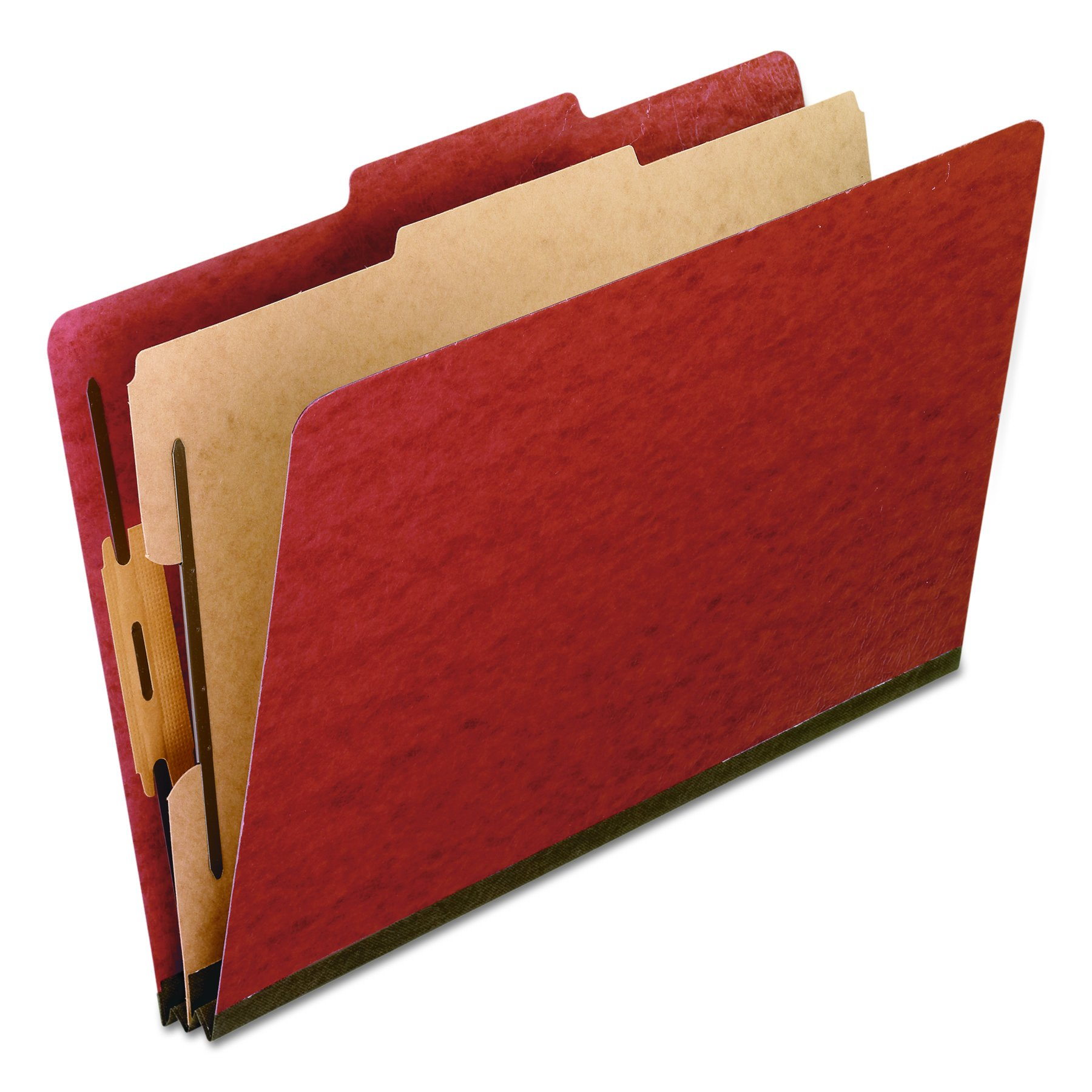 Pendaflex 2157R Four-Section Pressboard Folders, Legal, 2/5 Tab, Red (Box of 10) by Pendaflex