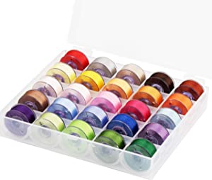 Simthread 25pcs Assorted Colors Size A Class 15 (SA156) 60WT Prewound Bobbins Thread with Clear Storage Plastic Box for Brother Embroidery Thread Sewing Thread Machine DIY