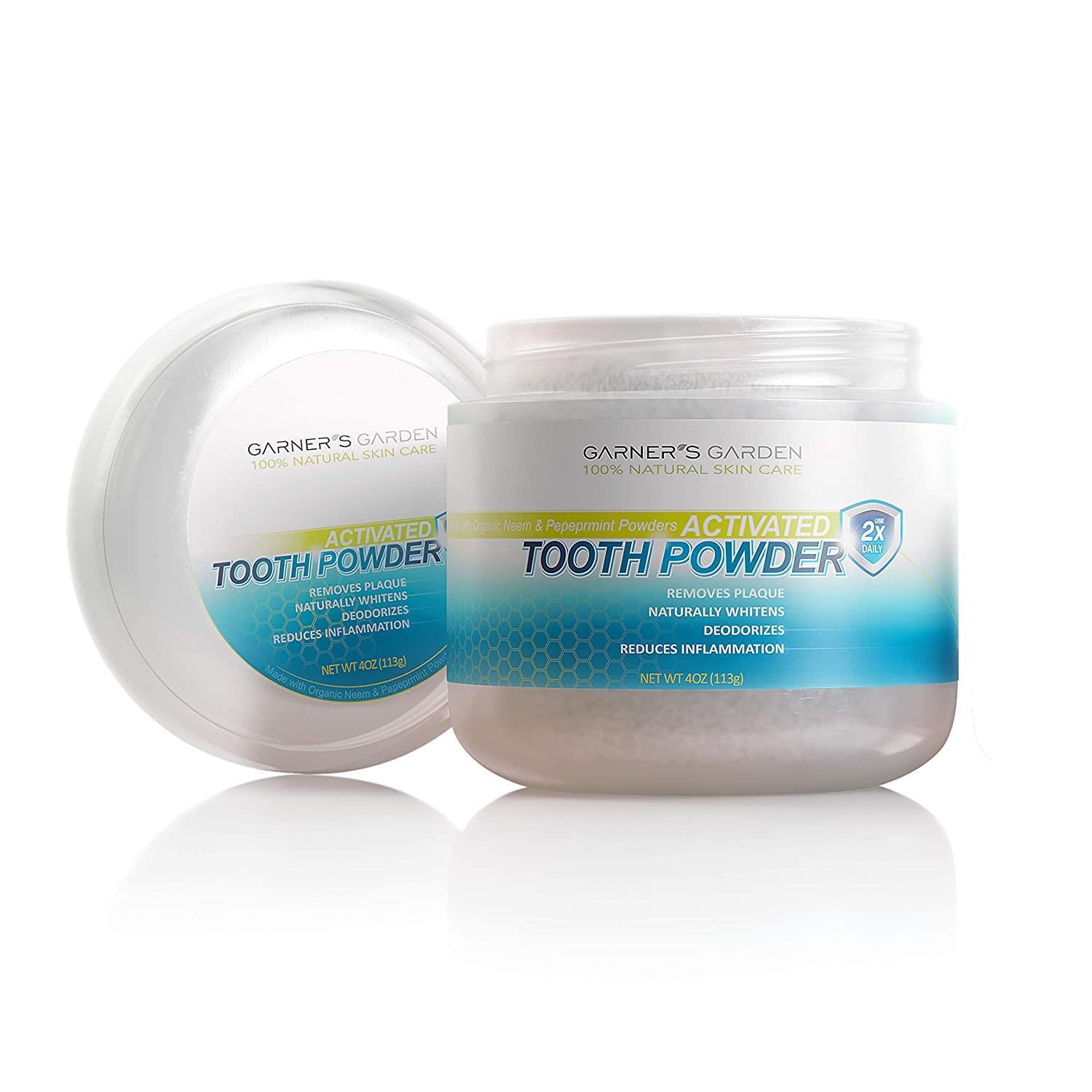 Garner's Garden Activated Tooth Powder 4 oz, Flouride Free, Remineralizes, Removes Plaque, Naturally Whitens, Deodorizes, Reduces Inflammation