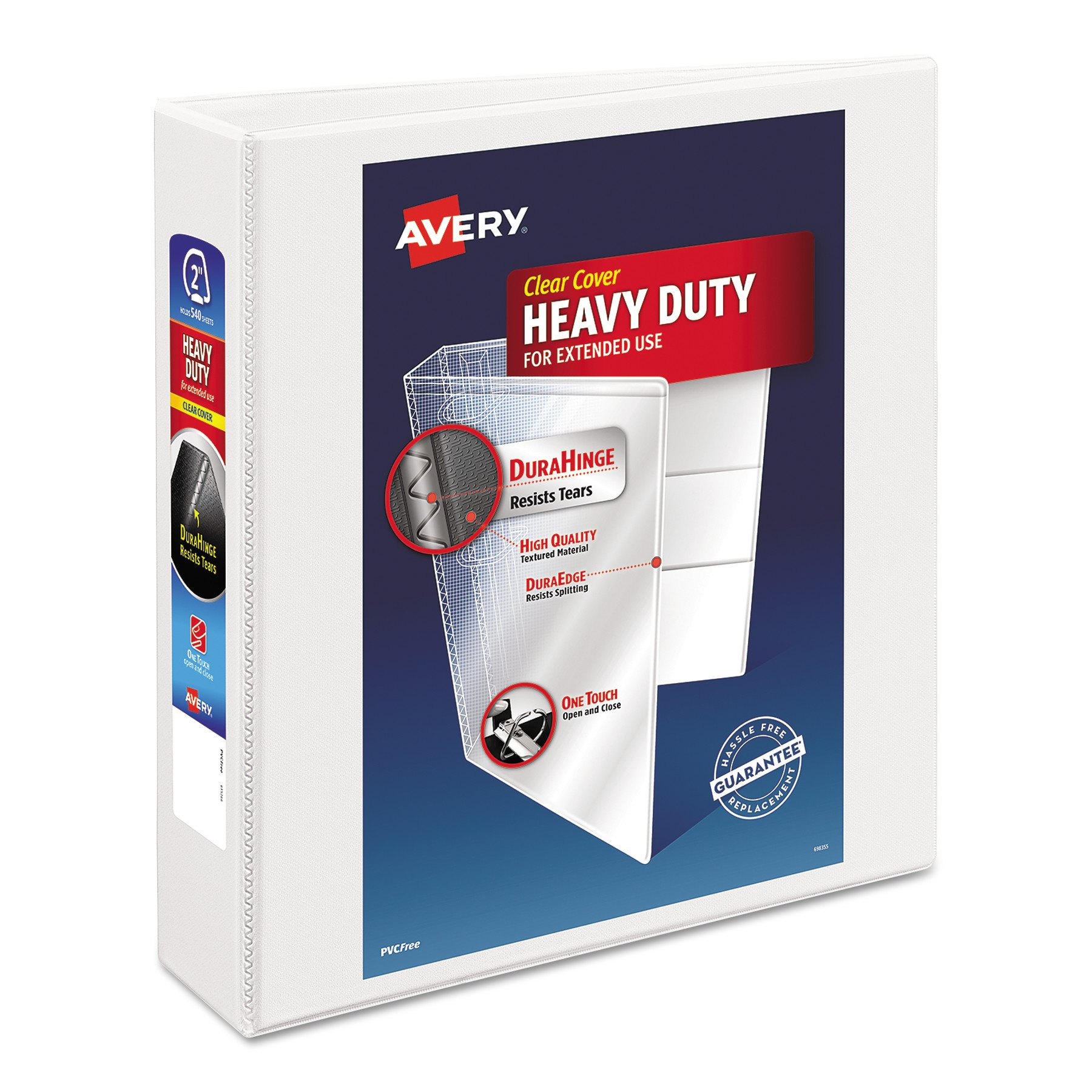 Avery Heavy-Duty Nonstick View Binder, 2'' One Touch Slant Rings, 500-Sheet Capacity, DuraHinge, White (05504)
