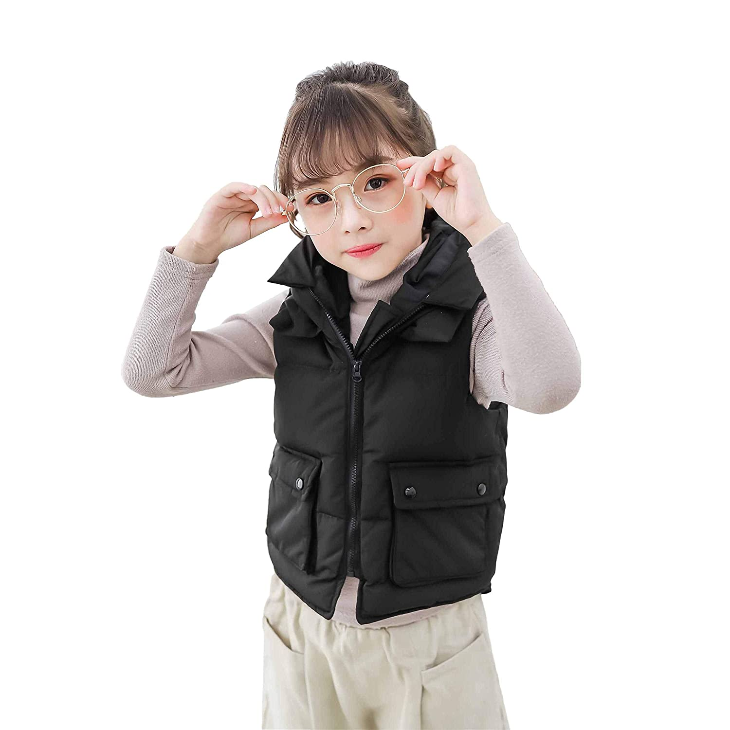 CHERRY CHICK Girls Winter Thick Down Hooded Vest