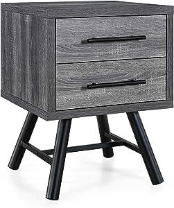 Christopher Knight Home Harrison Mid-Century Modern Nightstand, Sonoma Gray Oak + Black