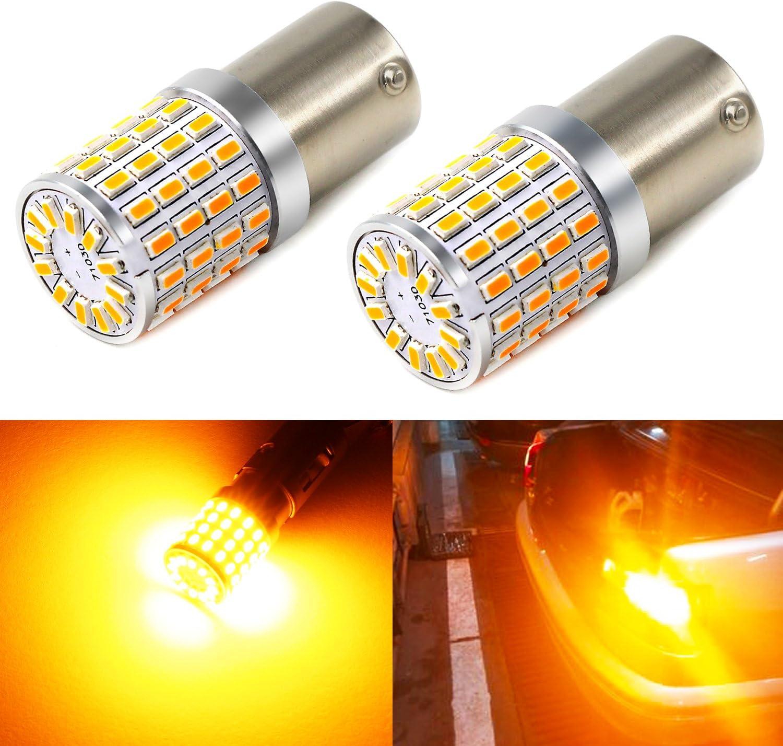 Phinlion Super Bright 3014 72-SMD BA15S 1156 1073 7506 Amber Yellow LED Light Bulbs for Turn Signal Blinker Lights