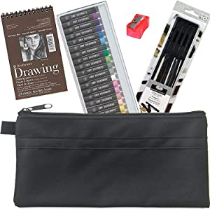 Essential Charcoals Sketch & Pastels Drawing Studio Sketching Pack/Vines/Sticks/Pad/Blender / 25 Oil Colors + Sharpener Artist tin with Utility Pouch Creative Bundle