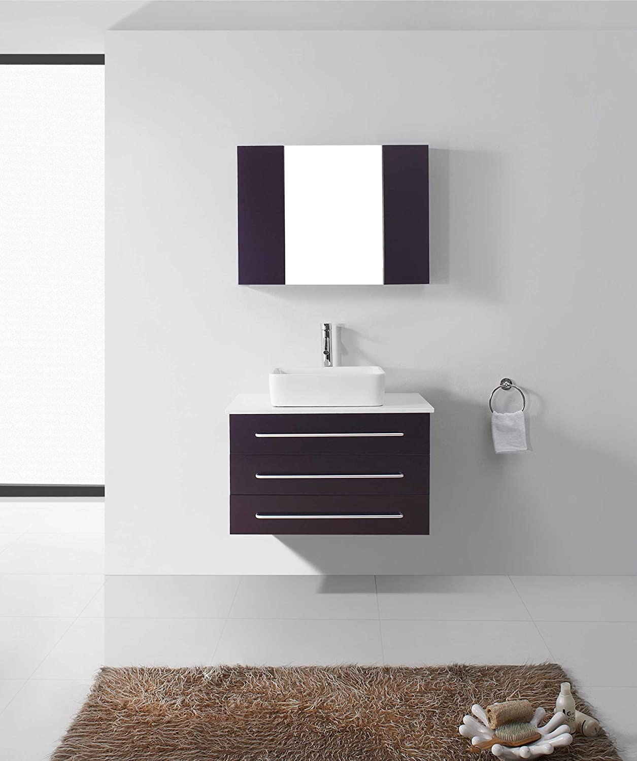 Virtu USA UM 3057 S BL Ivy 33 Inch Wall Mounted Single Sink Bathroom Vanity   White Stone Countertop  Black Finish     Amazon comVirtu USA UM 3057 S BL Ivy 33 Inch Wall Mounted Single Sink  . 32 Inch Bathroom Vanity. Home Design Ideas