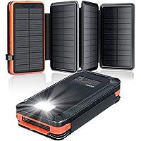 Cargador Solar 26800mAh, Elzle Power Bank Solar con 2 Salidas USB y 1 Entrada Micro USB, Impermeable Batería Externa con…
