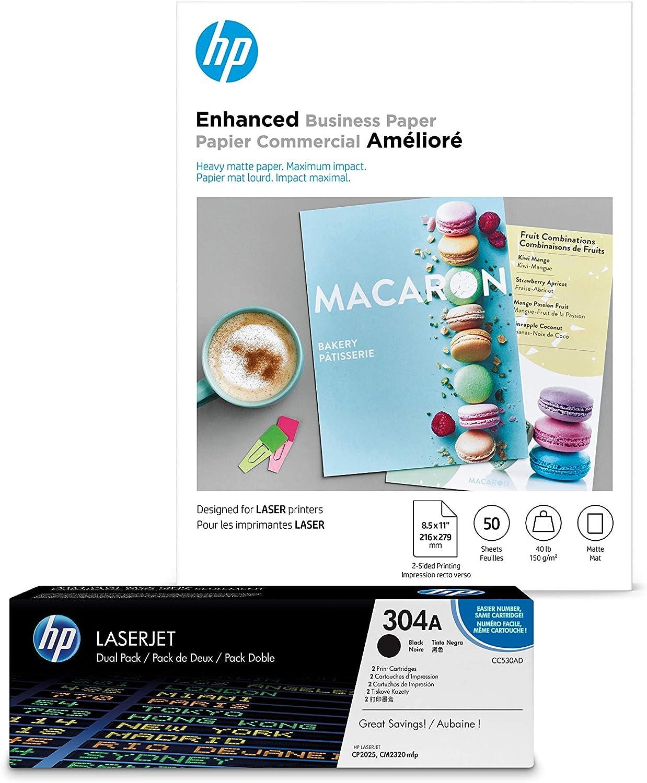 HP 304A Black Toner + HP Brochure Paper, Laser, 8.5x11, 50 sheets, Matte