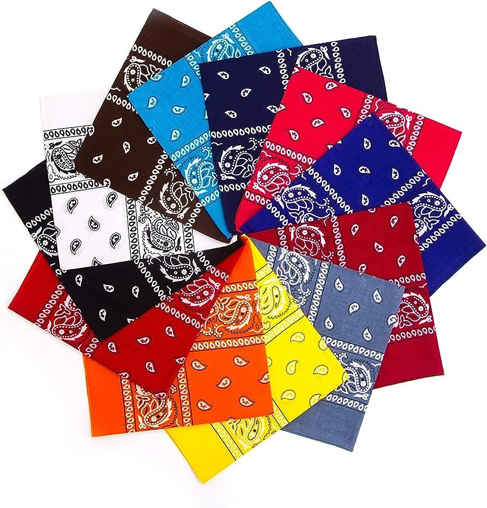 Latocos 12 Piezas Paisley Bandana Pañuelos Cabeza Pañuelos Cuello Multicolor Múltiple Deportivo Algodón Bandanas para Mujer Hombre: Amazon.es: Ropa y accesorios