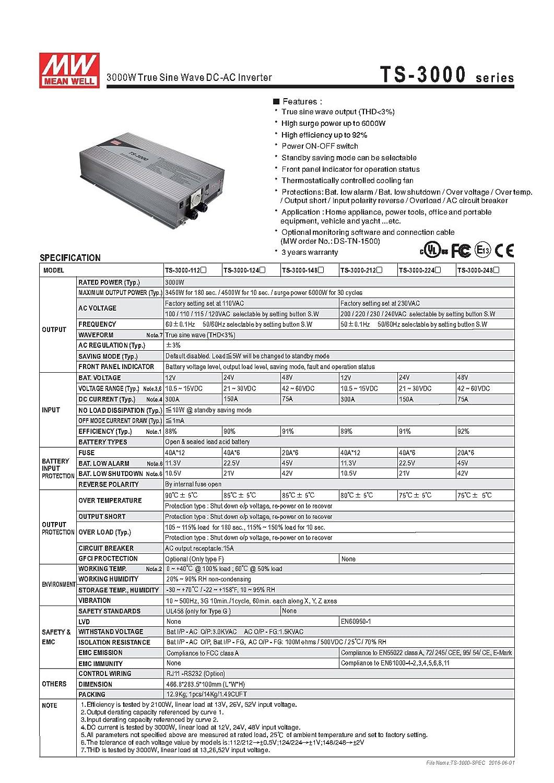 Amazon.com: TS-3000-212B DC to AC Inverter 12VDC 200VAC/220VAC ...