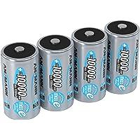ANSMANN Accu D 10.000 mAh NiMH 1,2 V (4 stuks) - oplaadbare mono D-batterijen, hoge capaciteit en maxE geringe…