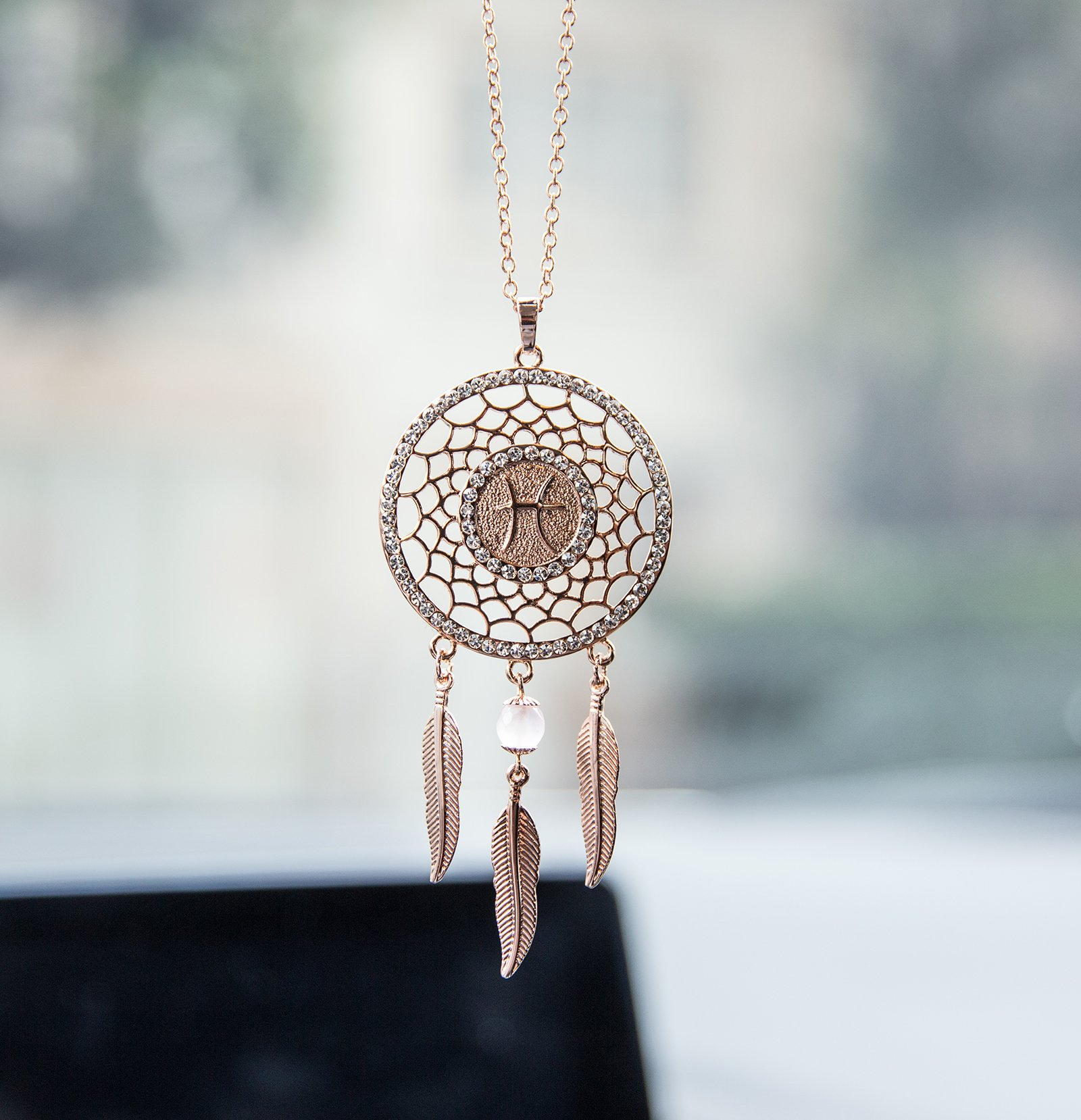 Boltz Mini Zodiac Pisces Sign Dream Catcher Car Charm Rear View Mirror Accessories, Boho Dangling Feather Tassel Bead Pendant Constellation Ornament Wall Hanging Home Decoration (Pisces)
