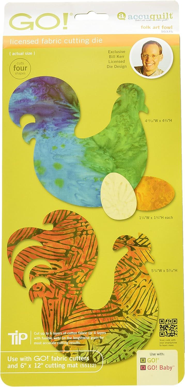 AccuQuilt GO Fabric Cutting Dies It Fits-Folk Art Fowl, Black