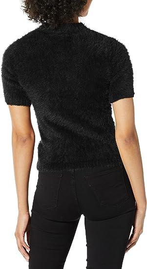 kensie Womens Furry Cropped Sweater