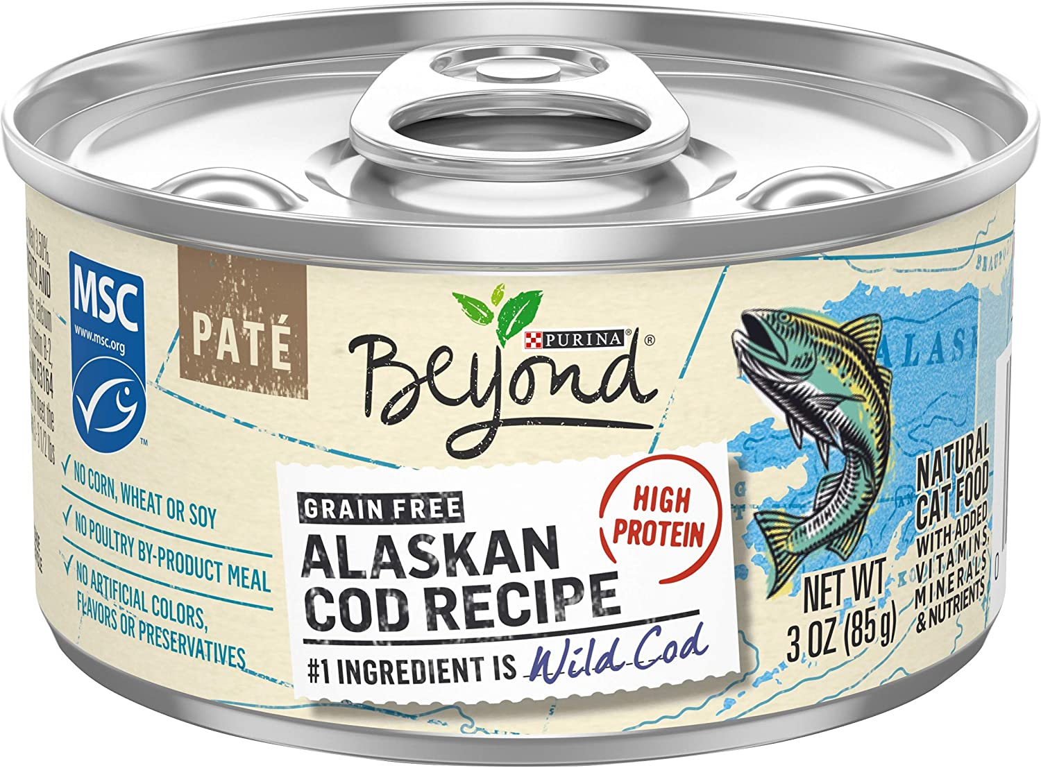 Purina Beyond Grain Free, Natural, High Protein Pate Wet Cat Food, Alaskan Cod Recipe - (12) 3 oz. Cans