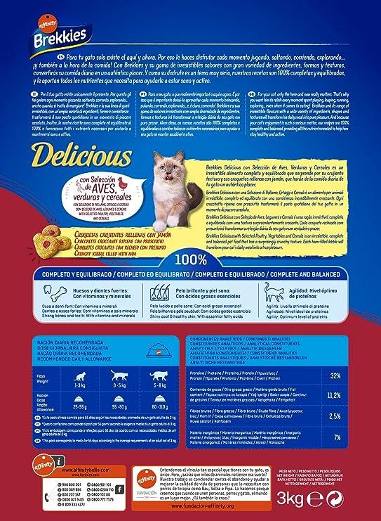 Brekkies Pienso para Gatos Delicious con una Selección de Aves y Verduras - 3000 gr: Amazon.es: Productos para mascotas