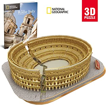 World Brands-Cubic Fun-Puzzle 3D City Traveller del Coliseo Romano, National Geographic (CPA Toy Group DS0976), color marron: Amazon.es: Juguetes y juegos