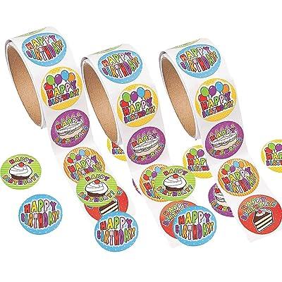 Fun Express 100 Birthday Roll Stickers (3 Pack): Kitchen & Dining [5Bkhe0303144]