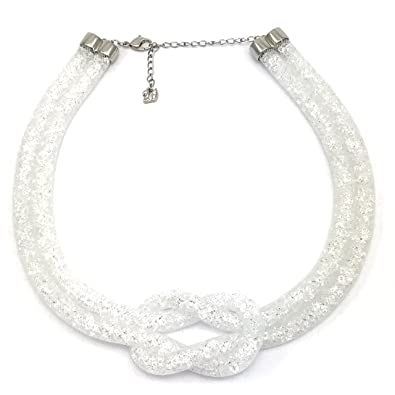 20aa8bee6f89 Swarovski Palladium Plated Stardust Knot Crystals Necklace Grey 40  Centimetres Reference 5138989  Amazon.co.uk  Jewellery