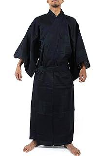 c37a9241720 Amazon.com: KYOETSU men's Japanese Striped Crepe Yukata Kimono set ...