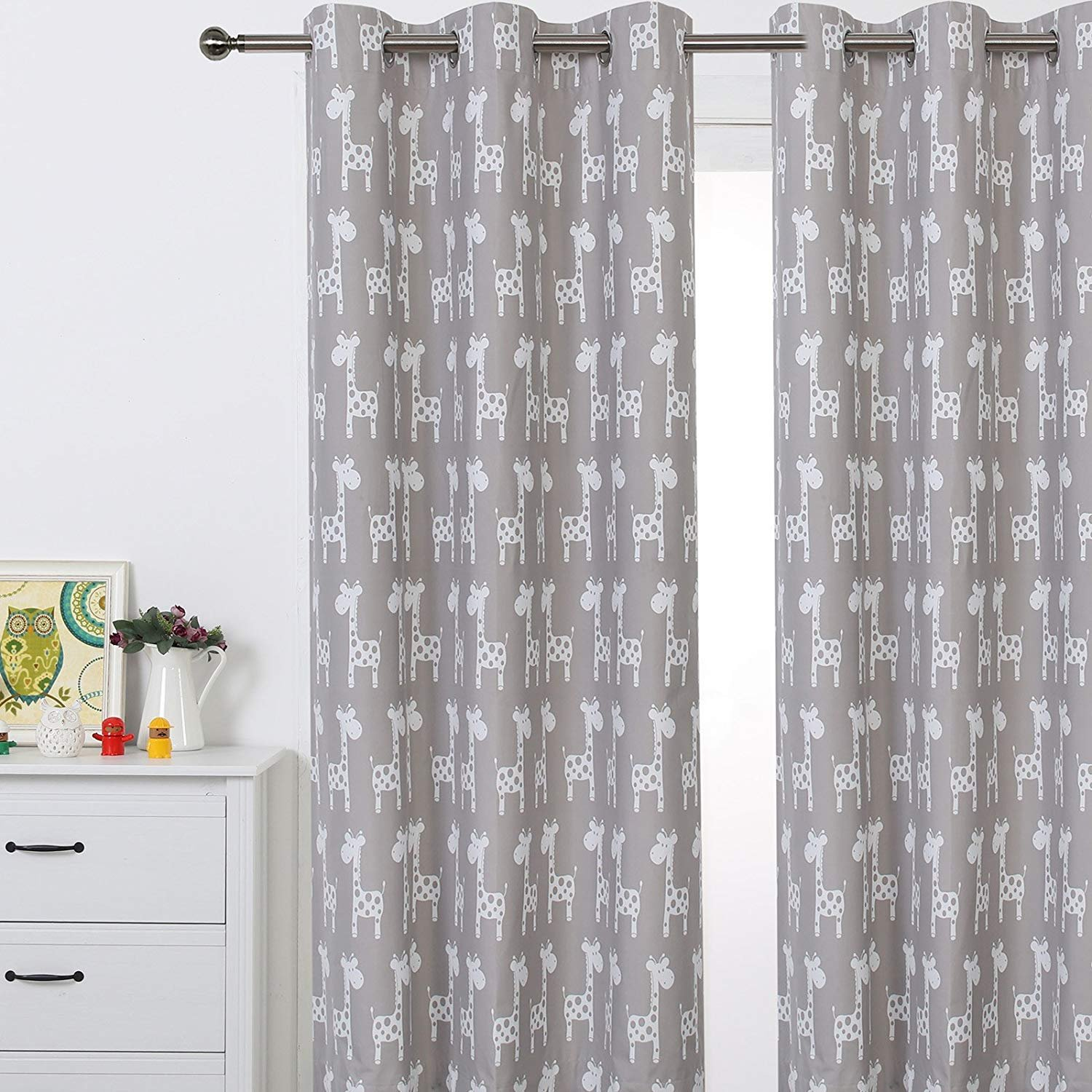 Sherwood GIRAFFE Eyelet Curtain Blockout Coated Window Panel Drapes for Kids Girl Boy Bedroom, One Panel, 47 x 84 Inch (Taupe)