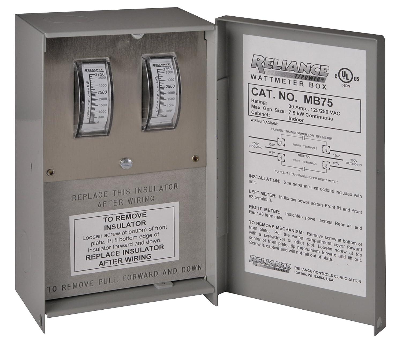 Reliance Controls Corporation Mb75 Watt Meter Box For Pb30 L1430 30 Amp Generator Power Cord Inlet Generators Up To 7 500 Running Watts Accessories Garden Outdoor