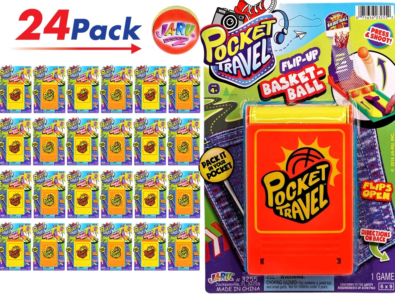 JA-RU Basketball Pocket Travel Game (24 Units) and 1 Bouncy Ball Item #3255-24p