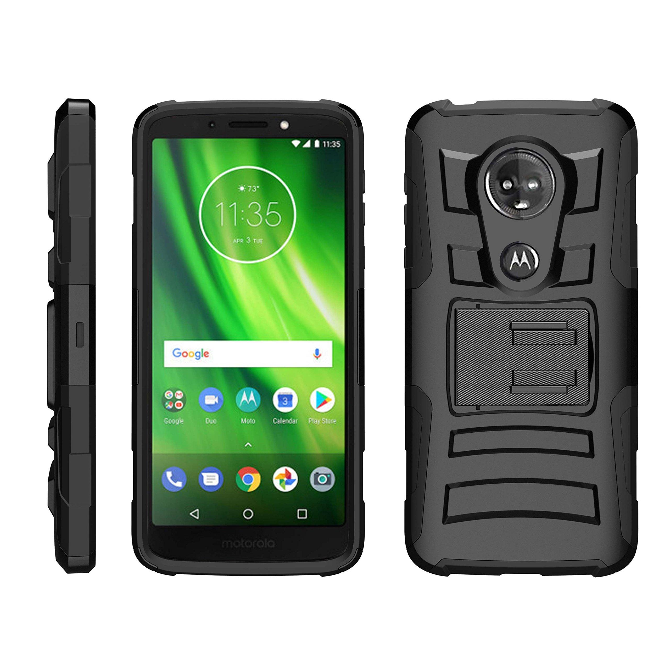 TurtleArmor | Compatible for Motorola Moto G6 Play Case | Moto G6 Forge Case [Hyper Shock] Armor Hybrid Cover Kickstand Impact Holster Belt Clip Sports and Games Design - Black