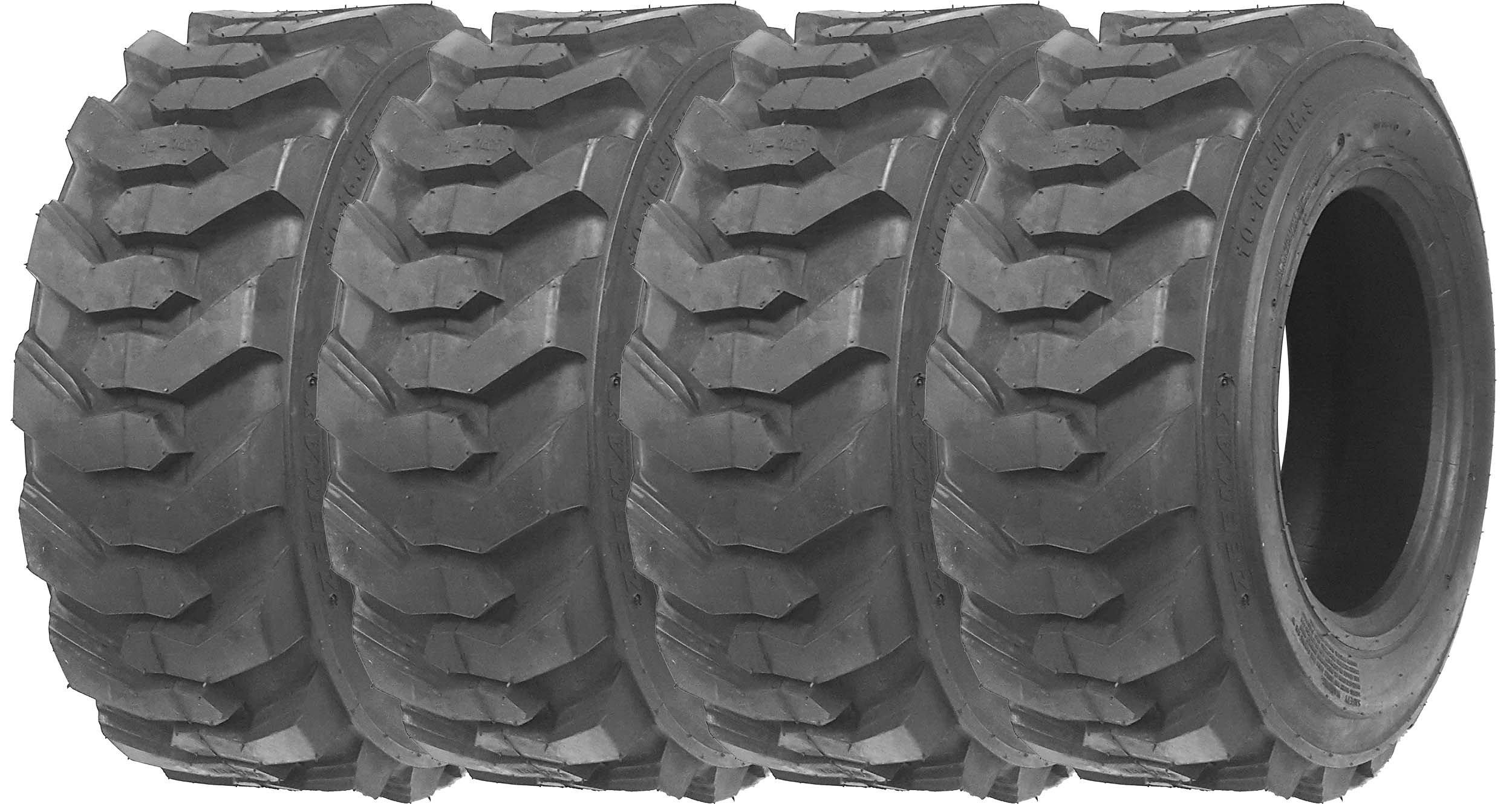 Set of 4 New ZEEMAX Heavy Duty 12-16.5/12PR G2 Skid Steer Tires for Bobcat w/ Rim Guard