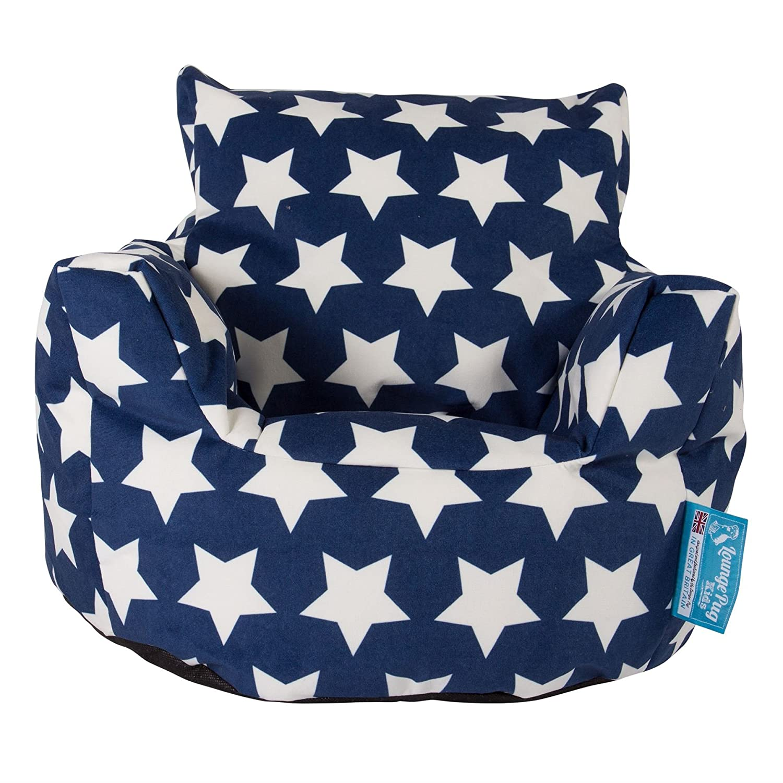 Lounge Pug - CHILDRENS Armchair - Kids Bean Bags UK - Print - BLUE Star Lounge Pug Bean Bags