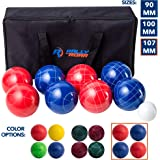 Bocce Ball Set - 3 size options 90, 100, or 107 mm by Rally and Roar – Complete Bocce Yard and Lawn Game with Carrying…