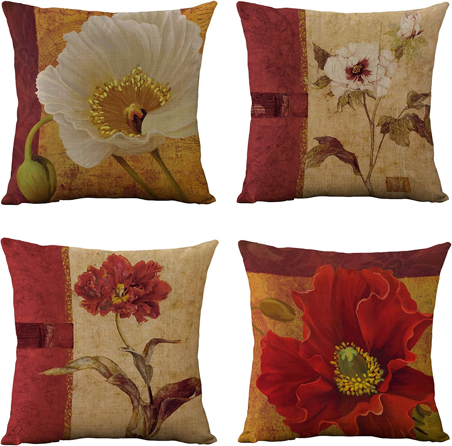 WOMHOPE Set of 4 Vintage Flower Throw Pillow Covers Pillow Cases Cushion Cases Burlap Toss 18 x 18 Inch for Living Room,Couch and Bed (Red Flower (Set of 4))