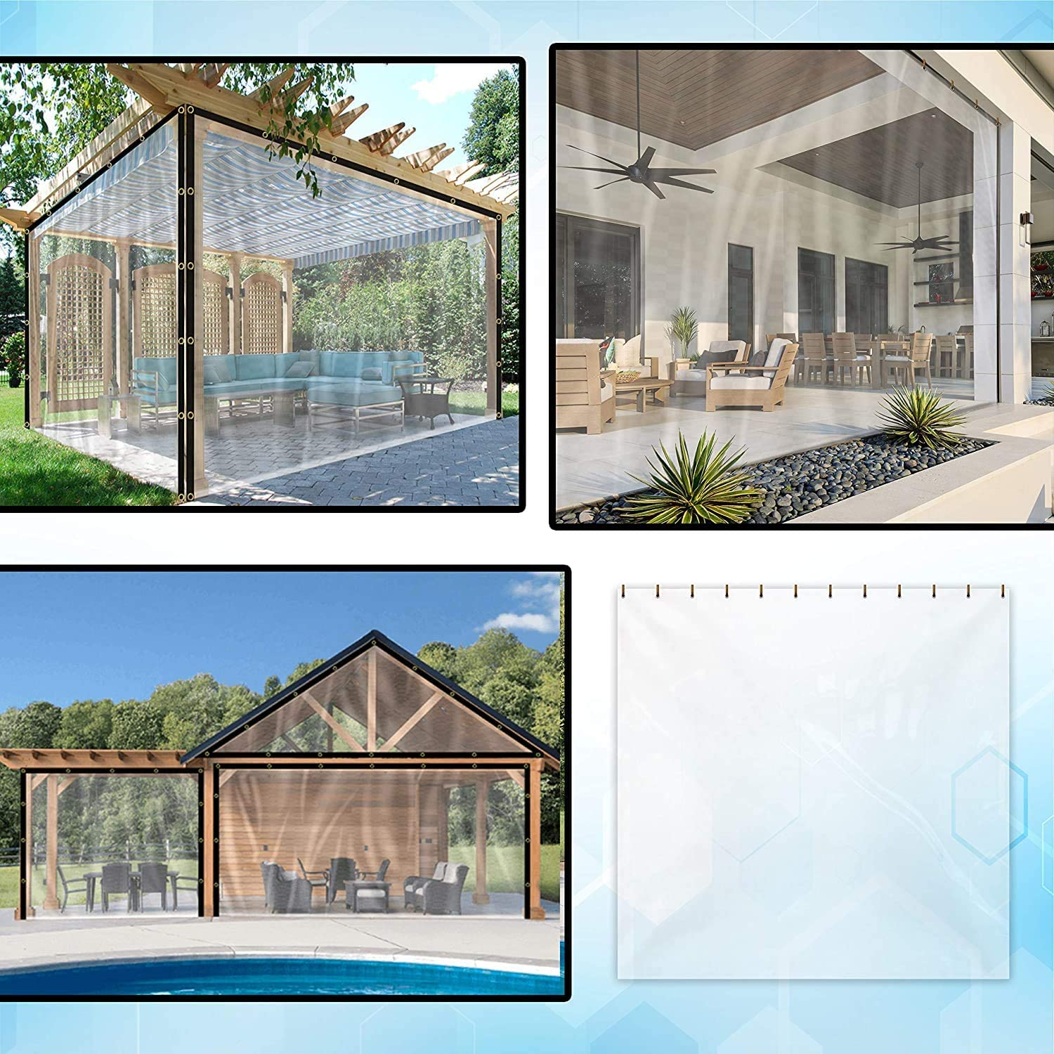 Gazebo x 11 Weather Resistant Patio Clear Curtain for Pergola COVERS /& ALL Outdoor Clear Tarp Curtain Waterproof Porch H W Cabana//Indoor with Rustproof Grommets 8