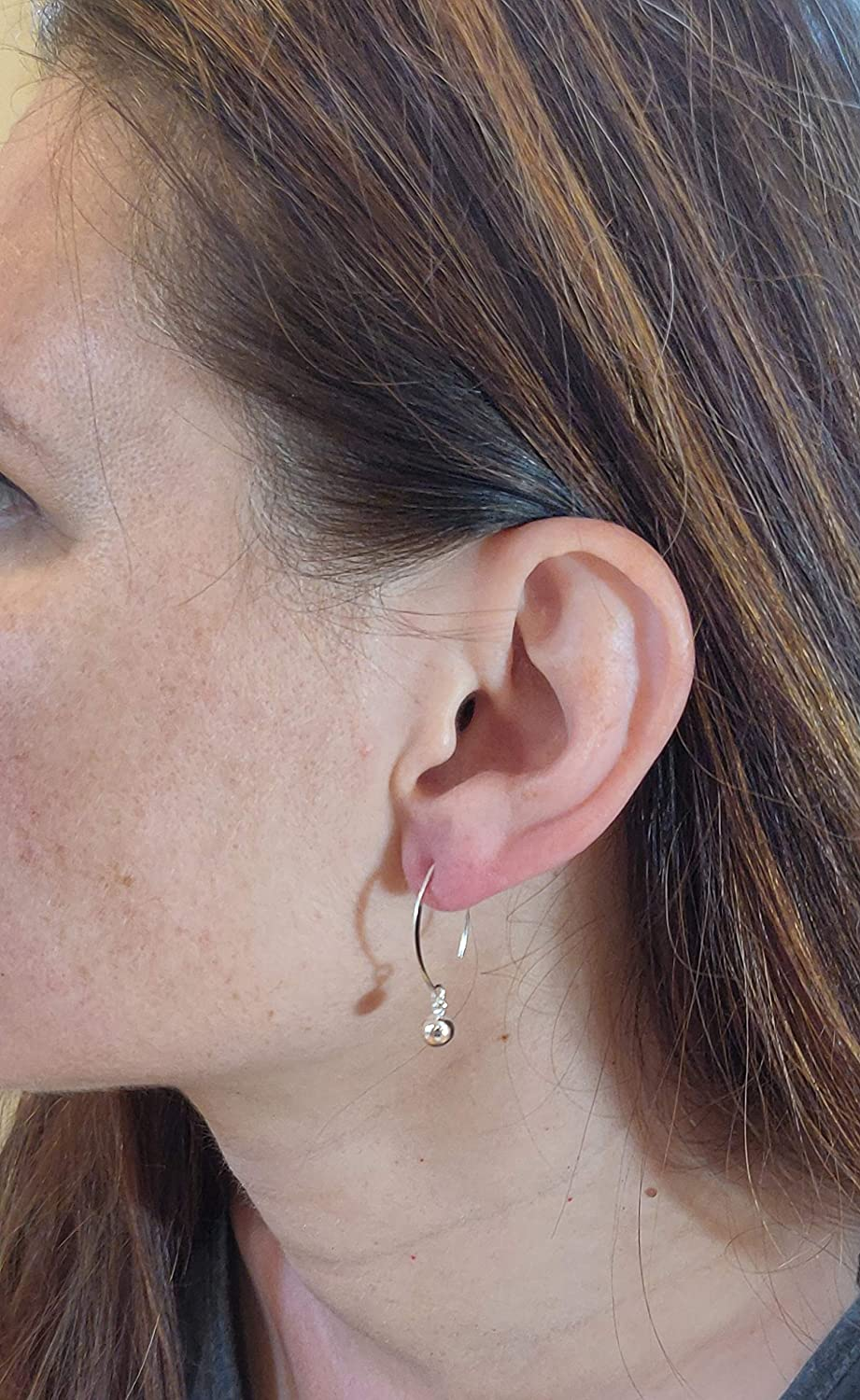 Sterling Silver Ear Wire Threader Ball Drop Earrings 6,8,10,12,14mm Threader Ball Dangling Earrings