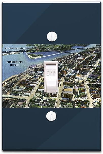 Rock Island, Illinois – Antena view de la ciudad y río ...