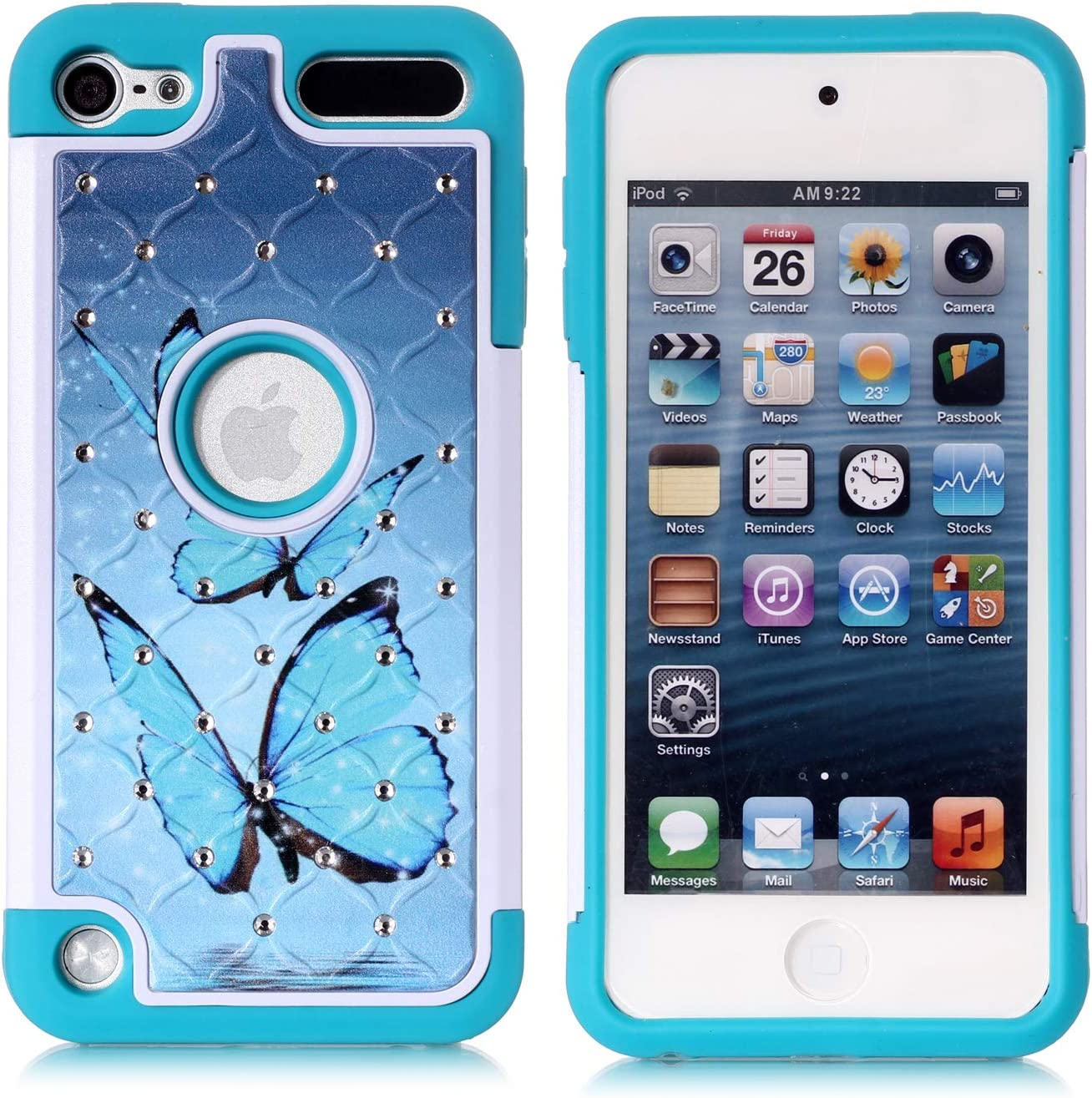 Apple iPod Touch 5,6th Case, iPod 7th Generation Case, Blue Butterfly Heavy Duty Shockproof Studded Rhinestone Crystal Bling Hybrid Case Silicone Protective Armor for Apple iPod Touch 5 6, iPod 7