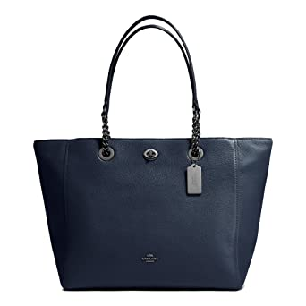Amazon.com  Coach Turnlock Ladies Large Pebbled Leather Tote Handbag 56830   Watches c46c4463cafab