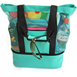 Odyseaco Aruba Mesh Beach Tote Bag with Zipper Top and Insulated Picnic Cooler, Turquoise