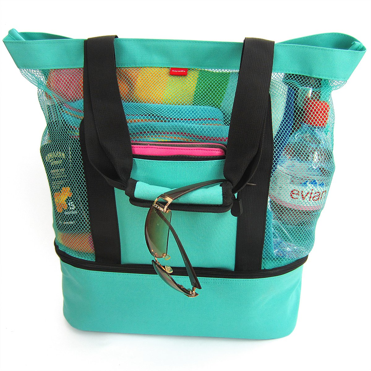 Beach Tote Bag with Zipper Top and Insulated Picnic Cooler