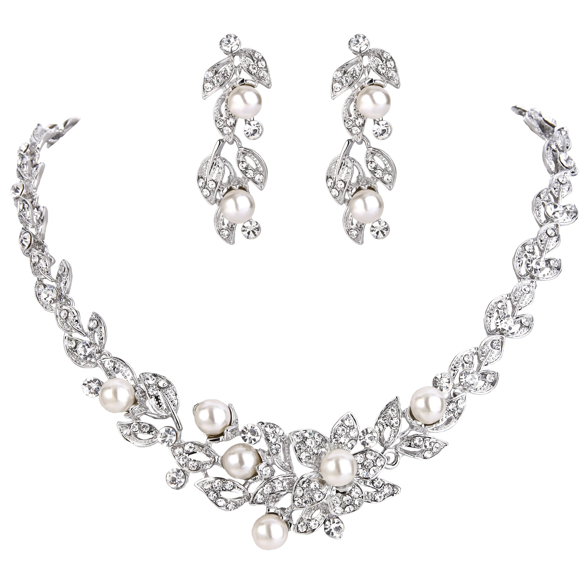 BriLove Women's Wedding Bridal Crystal Cream Simulated Pearl Cluster Leaf Vine Hibiscus Flower Collar Necklace Dangle Earrings Set Clear Silver-Tone