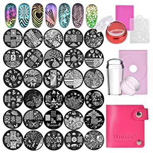 Biutee Nail Stamping Plates Set 30pcs Nail Plates 2stamper 2scraper 1storage bag 1Plate Holder Flower Animal Pattern Nail plate Template Image Plate Stencil Nails Tool