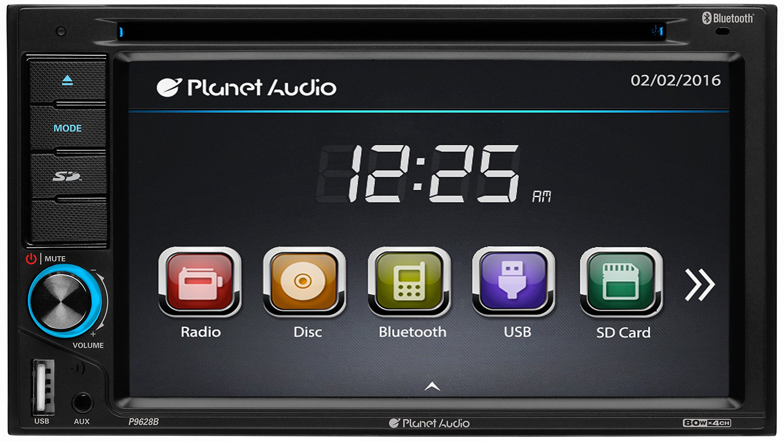 Planet Audio P9628B Double Din, Touchscreen, Bluetooth, DVD/CD/MP3/USB/SD AM/FM Car Stereo, 6.2 inch Digital LCD Monitor, Wireless Remote