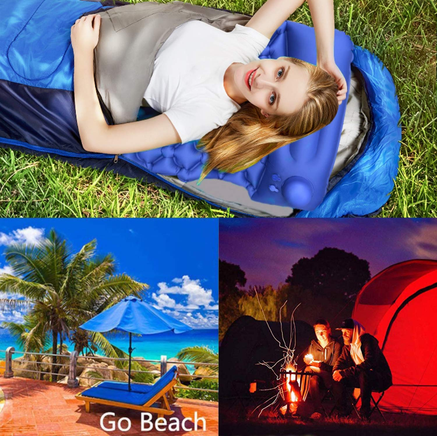 Amazon.com: Camping sleeping mat Hand - pressed inflatable ...