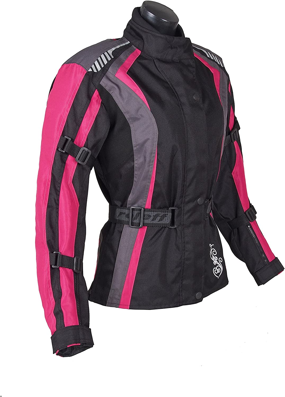 Roleff Racewear Damen Textil Motorradjacke Mit Protektoren Gute Belüftung Taillierter Schnitt Schwarz Pink Größe M Auto