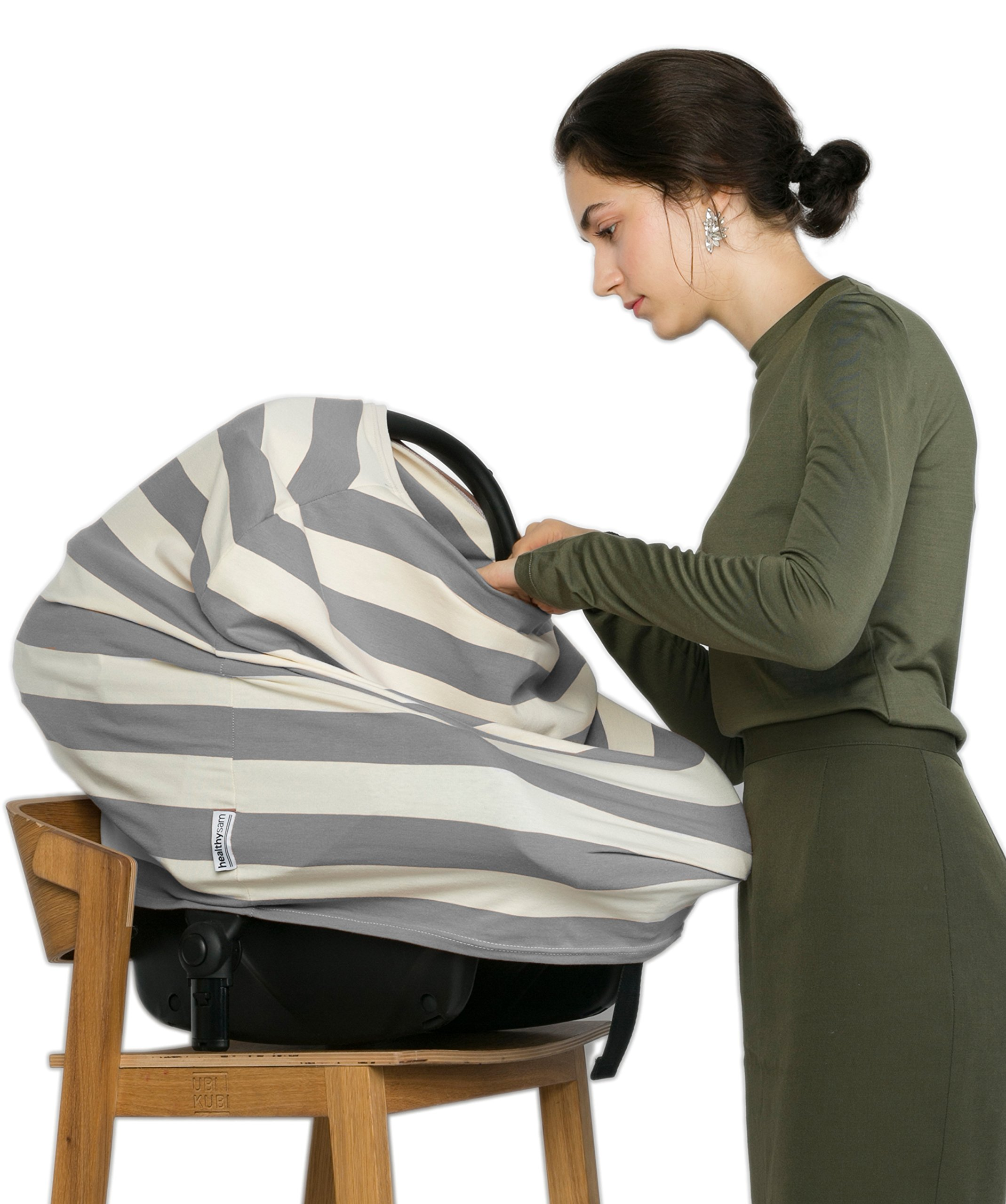 Breastfeeding Nursing Cover + 1 Burp Cloth by HealthySam - Baby Car Seat Covers - Shopping Cart, High Chair, Stroller and Carseat Canopy - Stretchy, Breathable Scarf and Shawl - Cotton - Grey Stripes