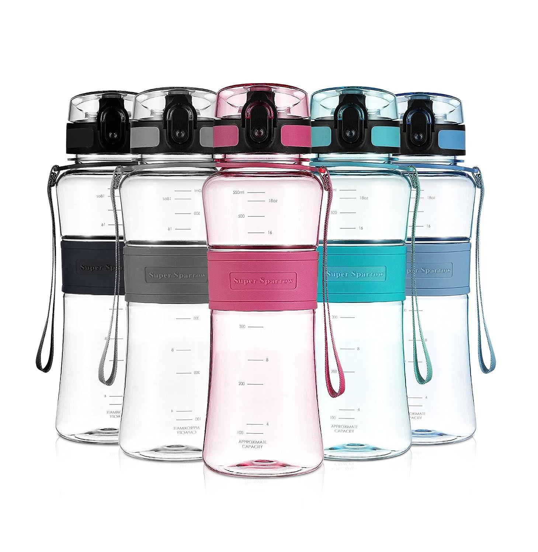 Super Sparrow Deportes Botella de Agua - No tóxico BPA Libre y ecológico Tritan Co-Poliéster Plástico - Reutilizable con Tapa a Prueba de Fugas (Rosa, 550ml-18oz) Q-Pink550