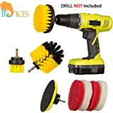 Drill Brush & Scrub Attachment Cleaning Kit - For Grout, Tiles, Sinks, Bathtub, Bathroom & Kitchen Surface