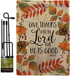 Give Thanks Unto the Lord Garden Flag - Set with Stand Fall Thanksgiving Turkey Gobble Pumpkin Season Autumntime Cornucopia - House Banner Small Yard Gift Double-Sided Made In USA 13 X 18.5