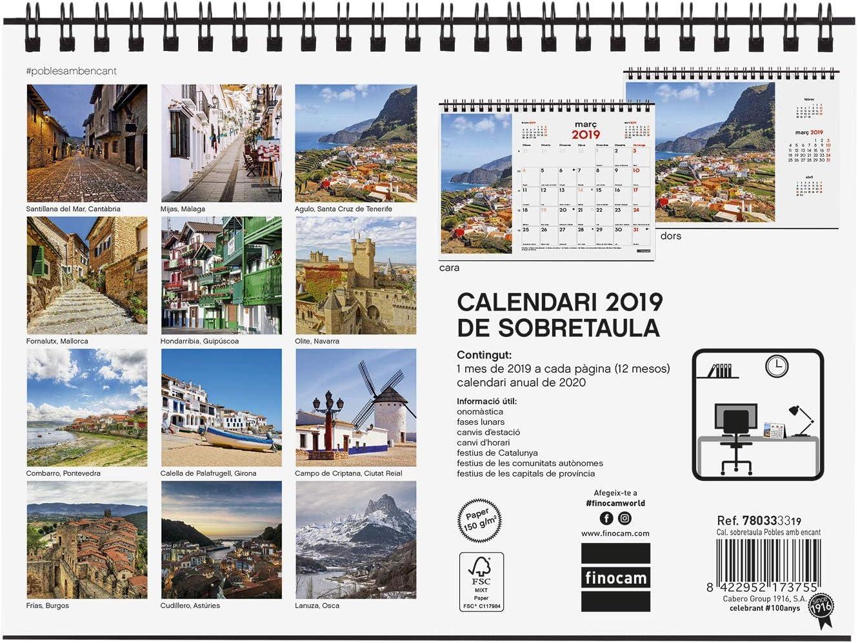 Finocam 780333319 - Calendario sobremesa 2019: Amazon.es: Oficina y papelería